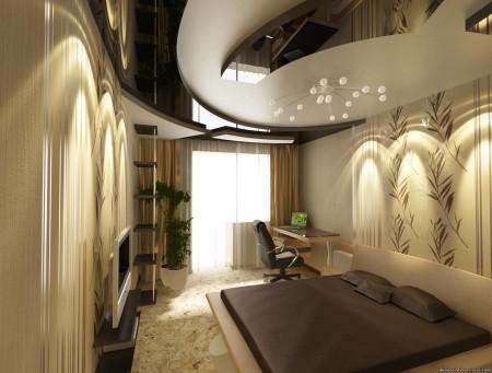 Фото дизайна потолка в интерьере спальни