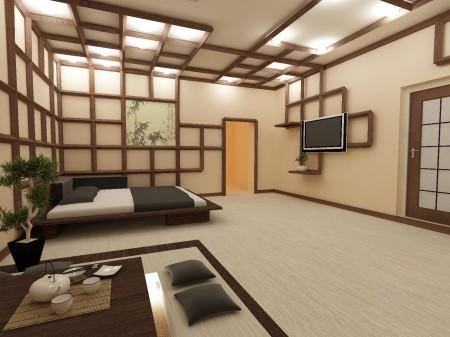 Эксклюзивное расположение деревянных темного цвета перекладин – изюминка стиля