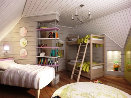 Конструкционные особенности данного помещения диктуют правила при создании потолка