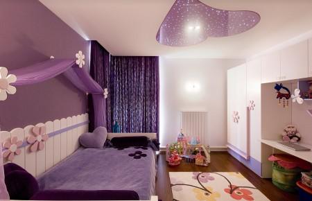 Фото детской для девочки и эффектный потолок
