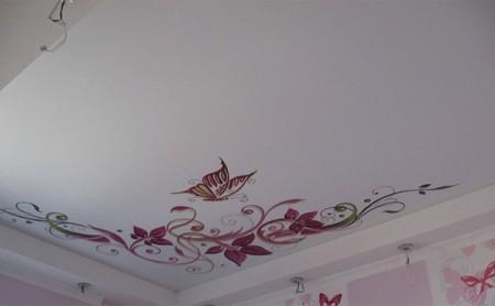 Матовый натяжной потолок с фотопечатью небольших размеров