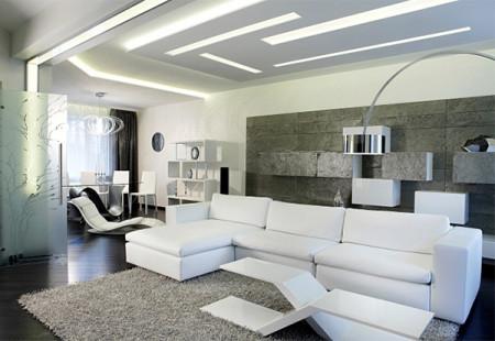 Вариант интерьера помещения со светодиодной подсветки в зале 21 кв. м
