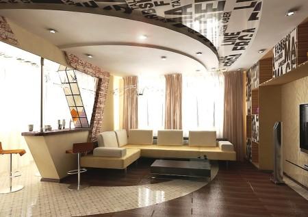 Дизайнерский многоуровневый потолок в гостиной