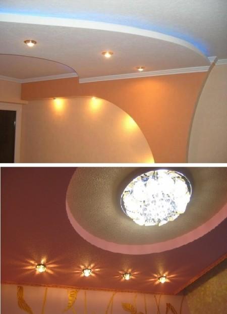 Образцы двухъярусных потолков округлой формы