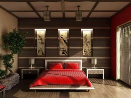 Фото квартиры в японском стиле интерьера с подвесными потолками из гипсокартона