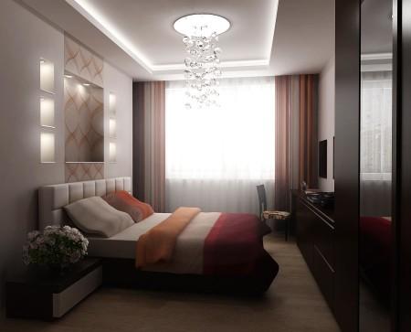Дизайн потолка из гипсокартона в интерьере спальной комнаты
