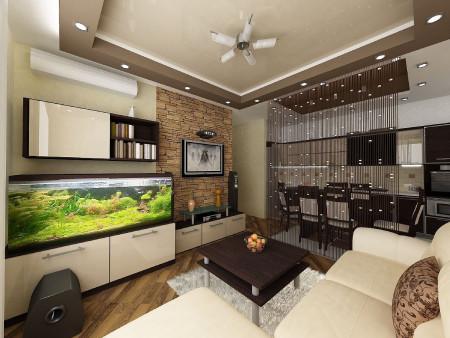 Натяжной потолок в совмещенных комнатах