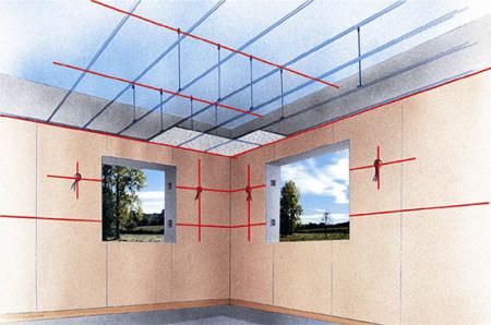 Особенности разметки потолка и стен под обрешетку из ПВХ