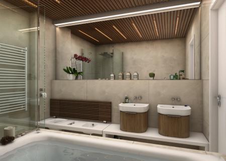 Ванная комната и деревянная рейка на подвесной потолок
