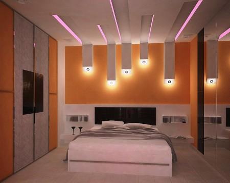 Спальня с многоуровневым потолком – красиво и функционально