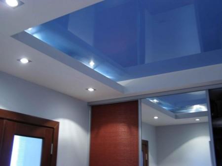 Многоуровневый натяжной потолок в интерьере