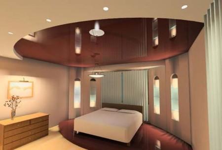Фото спальной комнаты и интересного дизайна натяжного потолка и пола