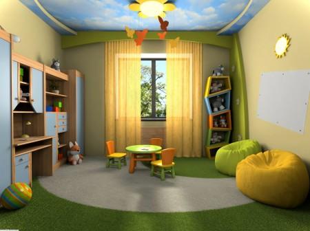 Интерьер детской с двухуровневой конструкцией