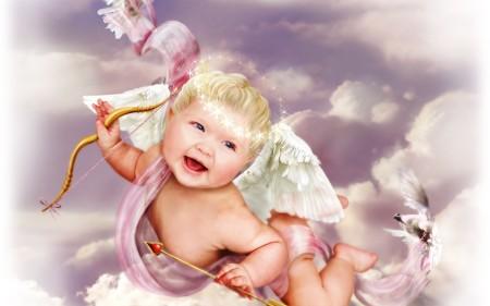 Фото ребенка в виде ангела для последующей фотопечати