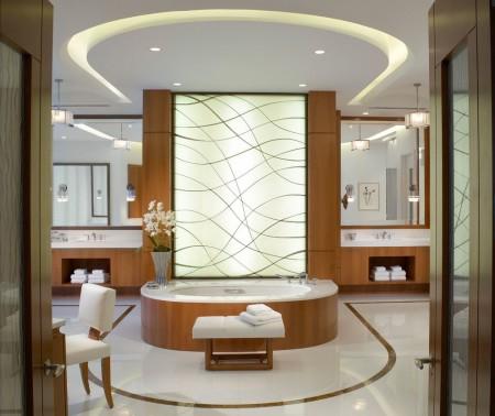Конструкция из гипсокартона в интерьере ванной комнаты