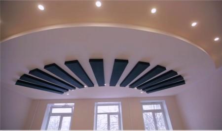 Фото натяжного потолок с необычным дизайном и светом для любого помещения
