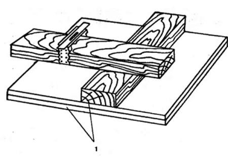Узел соединения нижнего и верхнего бруска