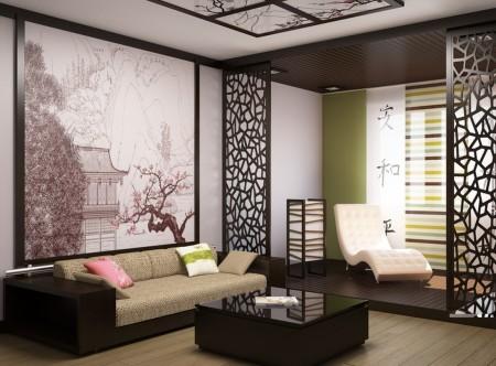 Фото помещения, выполненного в японском стиле, с картиной выполненной методом фотопечати на стене
