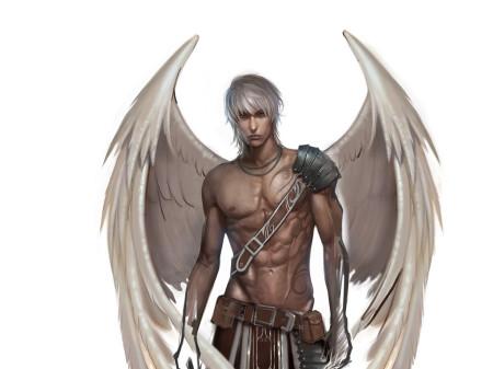 Пример ангела воина в стиле фэнтези для фотопечати