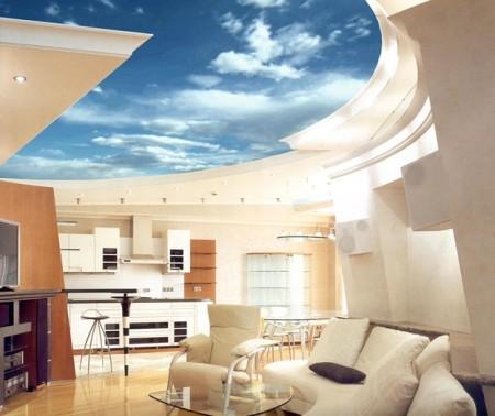 Натяжной 3д потолок в интерьере квартиры