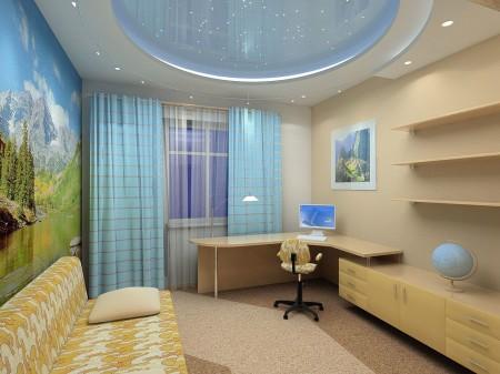 Вариант из гипсокартона в детской комнате с организацией света по типу «звездное небо»