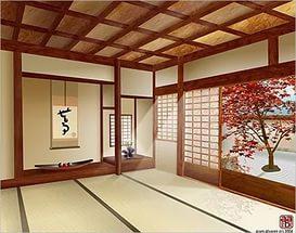 Фото помещения в японском стиле с картиной на стене выполненной методом фотопечати