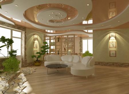 Элегантные перепады с разнообразными источниками света радуют глаз, украшают интерьер и визуально расширяют площадь комнаты