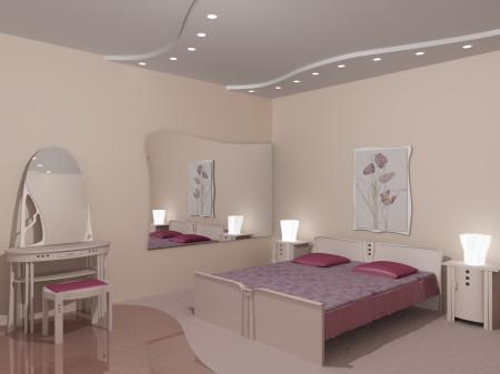 Потолочный вариант с дизайном в виде лент и точечным типом света