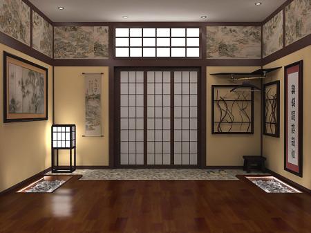 Фото прихожей сделанной в японском стиле с подвесным потолком из гипсокартона