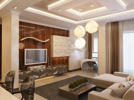 Интерьер зала 21 кв.м. с люстрой, точечными светильниками и лампами