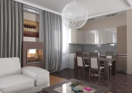 Фото дизайна потолка для гостиной и кухни в интерьере квартиры-студии