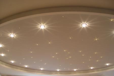 Встроенные в одноуровневый потолок ЛЕД лампы