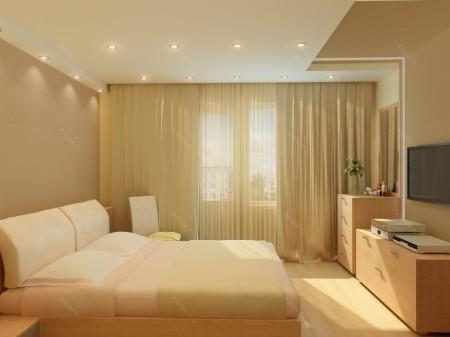 Традиционный вариант с точечным типом света в интерьере спальни
