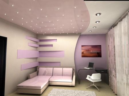 Разделение интерьера светом на рабочую часть комнаты и зону отдыха