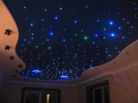 Фото изысканного интерьера помещения, созданного с помощью модели «звездное небо»
