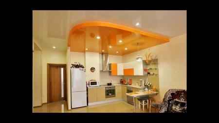 Двухуровневая конструкция для зоны кухни с точечными источниками света