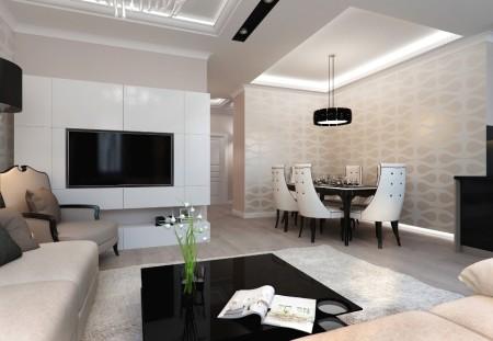 Интерьер помещения гостиная-столовая