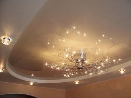 Освещение спальни с помощью люстры