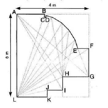 Лист замера потолка сложной конструкции с криволинейными сегментами