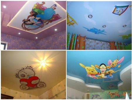 Одноуровневые натяжные потолки для детской