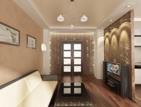 Фото использования матовой натяжной системы при оформлении гостиной