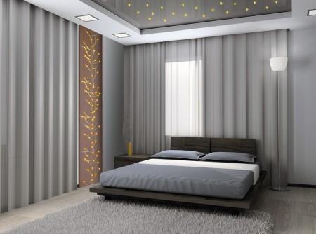 Двухуровневый серый матовый потолок с подсветкой