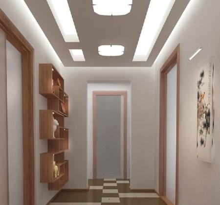 Фото организации освещения прихожей с помощью световых панелей