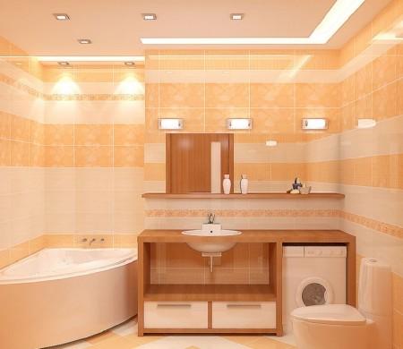 Гигиеническая комната - комбинированное освещение с помощью разных световых источников