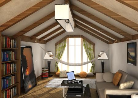 Дом с балками и тканевым потолком