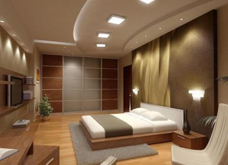 Потолок шоколадного цвета с подсветкой