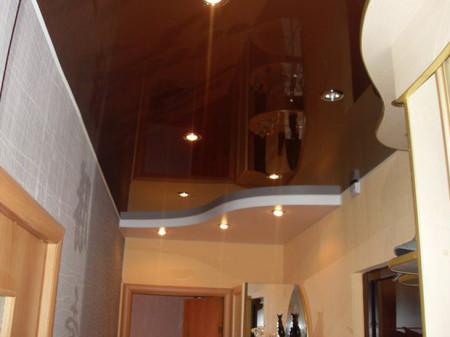 Темный потолок со вставками