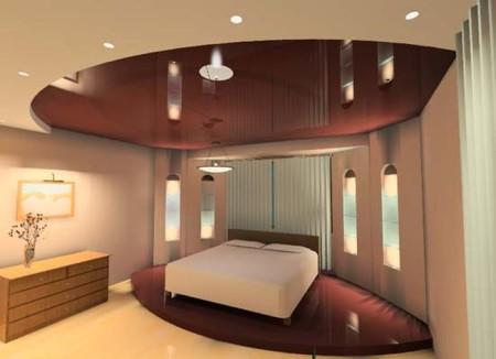 Шоколадный тон натяжного потолка для спальни