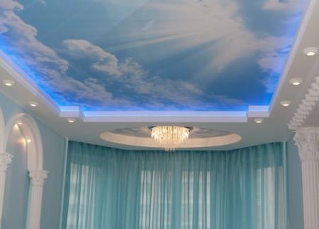 Интерьер помещения в голубых тонах