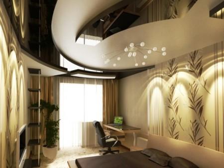 Оригинальный и стильный интерьер с многоуровневым потолком в центре оригинальная лампа
